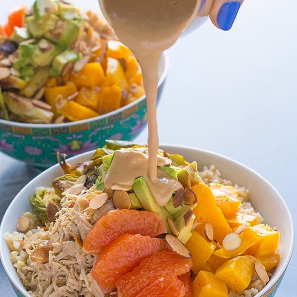 Grain Bowls with Chicken, Veggies and Avocado - high protein dinner recipe