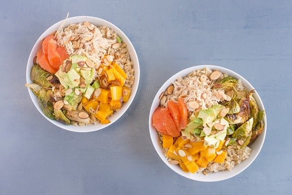 Grain Bowls with Chicken and Veggies and Tahini Dressing - a healthy high-protein recipe