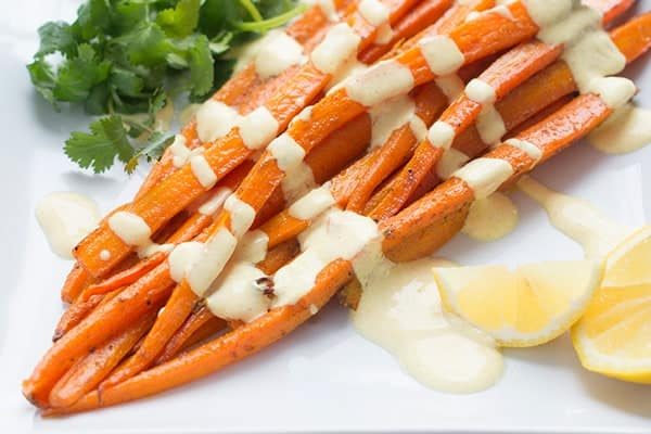 Moroccan Spiced Roasted Carrots with Yogurt Sauce - a fast and healthy side dish recipe