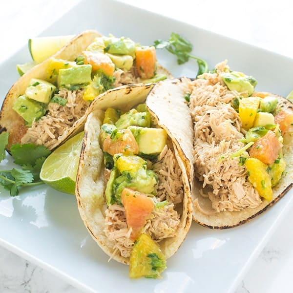 Pulled Chicken Tacos with a Citrus Salsa - an easy taco recipe