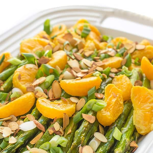 Roasted Asparagus with Tangerines and Toasted Almonds - a fast and easy side dish recipe
