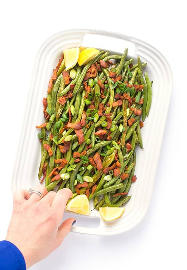 Roasted Green Beans with Bacon - A fast, flavorful side dish recipe