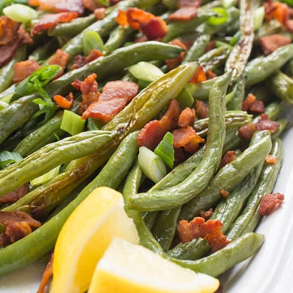 Roasted Green Beans with Bacon - a quick and healthy side dish recipe