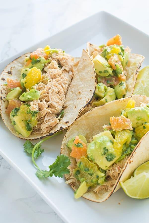 Shredded Chicken Tacos with Avocado Citrus Salsa - a fast taco recipe