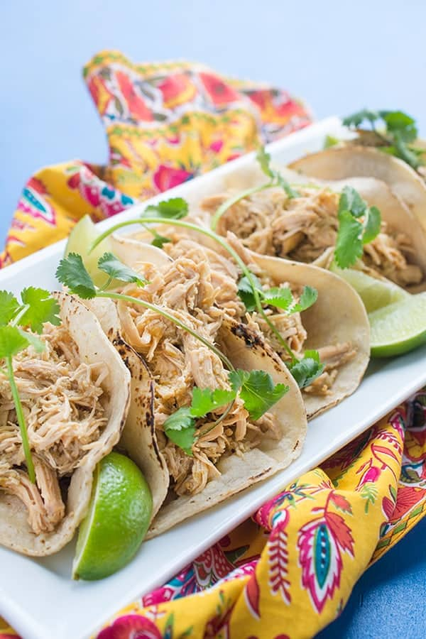Slow Cooker Salsa Verde Chicken Tacos - an easy, authentic Mexican recipe