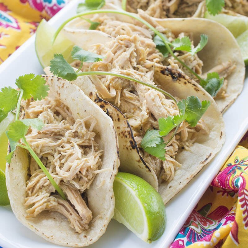 Slow Cooker Salsa Verde Chicken Tacos The Lemon Bowl