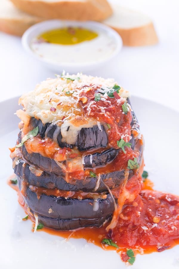 Eggplant Parmesan Stacks - A healthy Italian dinner recipe