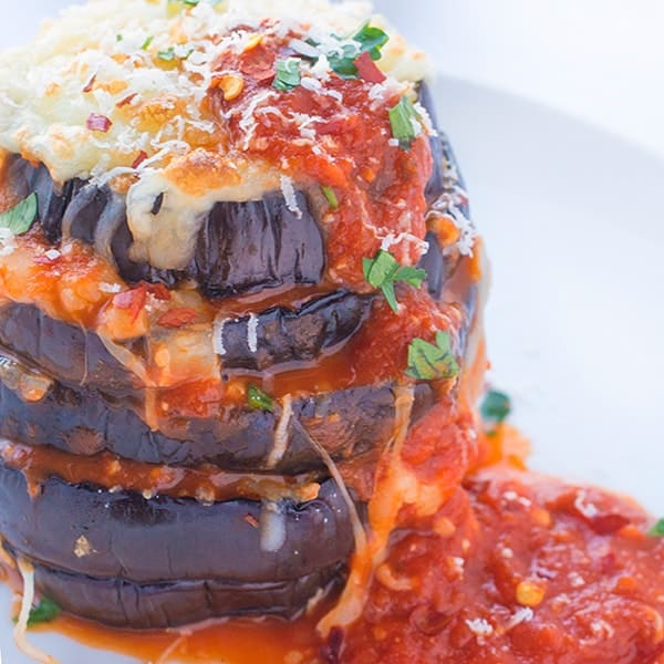 Grilled Eggplant Parmesan - a healthy twist on a classic Italian dinner recipe