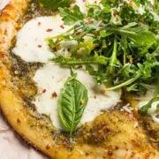 Grilled Pesto Pizza with Fresh Mozzarella - A fast and easy summer pizza recipe