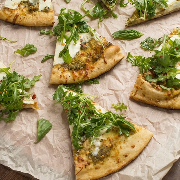 Pesto and Arugula Grilled Pizza Recipe