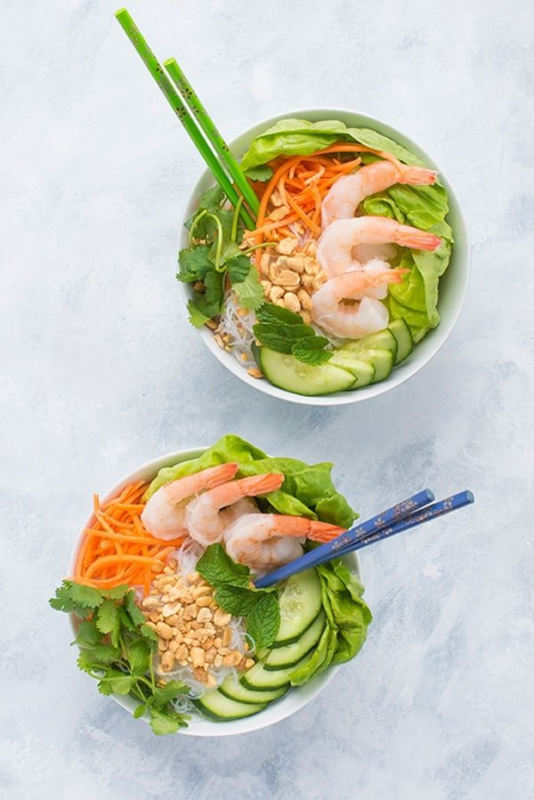 Shrimp Vermicelli Bowls - a fast Vietnamese no cook dinner recipe