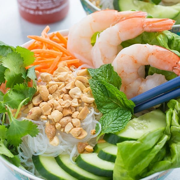 Vermicelli Noodle Bowls with Shrimp - a delicious Asian salad recipe
