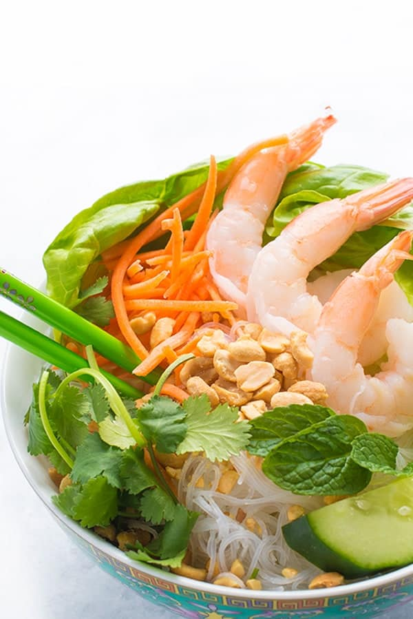 Vermicelli Noodle Bowls with Shrimp and Roasted Peanuts