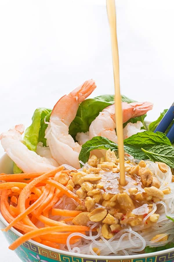Vietnamese Rice Noodle Bowls with Shrimp and a Peanut Dressing