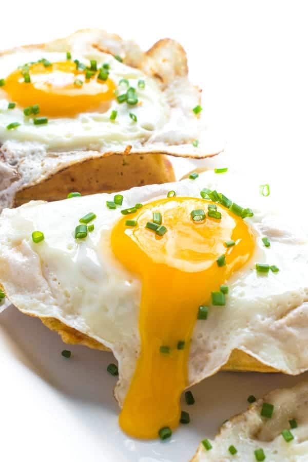 Cheddar Chive Breakfast Waffles with Fried Eggs - a delicous brunch recipe