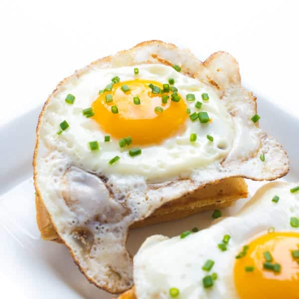 Cheddar Chive Waffle with Fried Egg - a delicious savory breakfast recipe