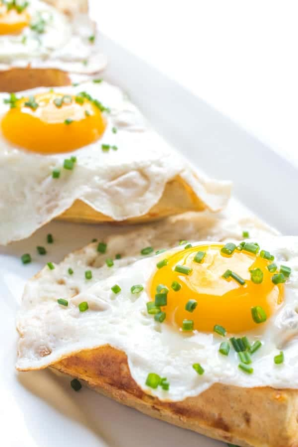 Cheddar Chive Waffles with Eggs - a savory waffle breakfast recipe
