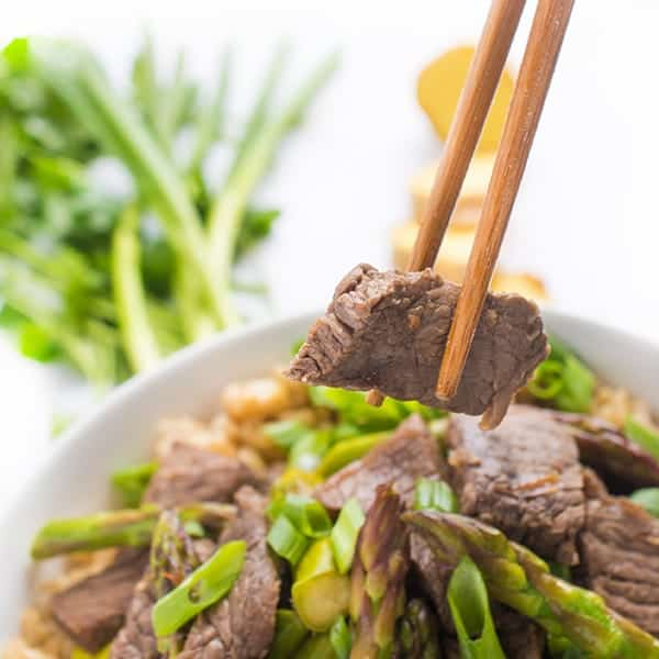 Ginger Sesame Beef and Asparagus Stir Fry - a fast weeknight dinner recipe