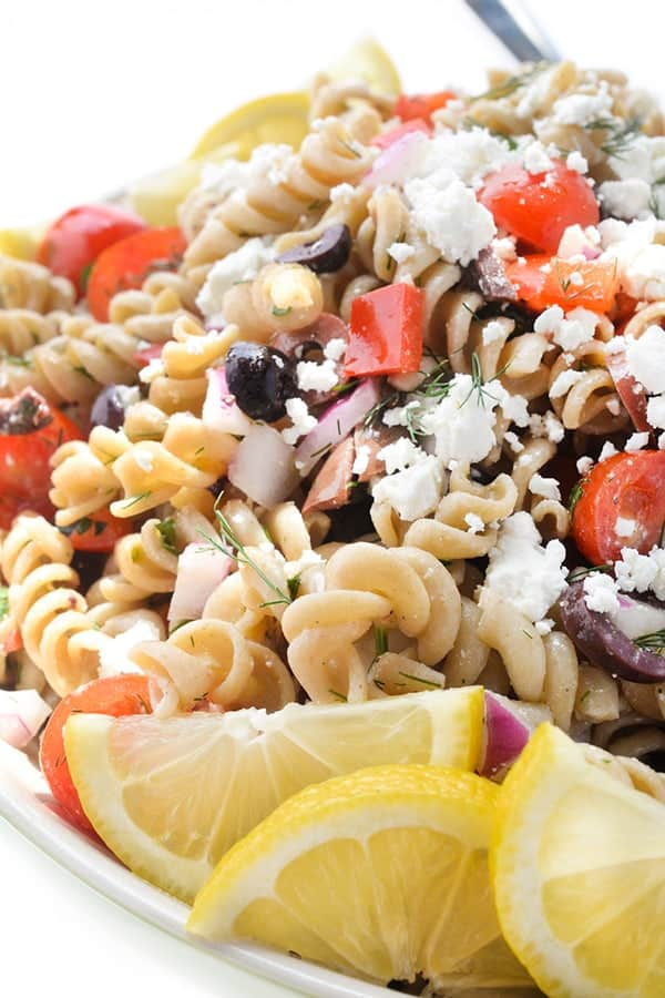 Greek Pasta Salad with Feta and Olives - a delicous summer side dish recipe