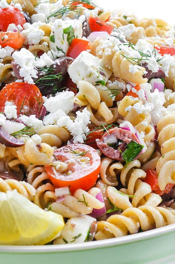 Greek Pasta Salad with Feta and Olives - a fresh side dish recipe