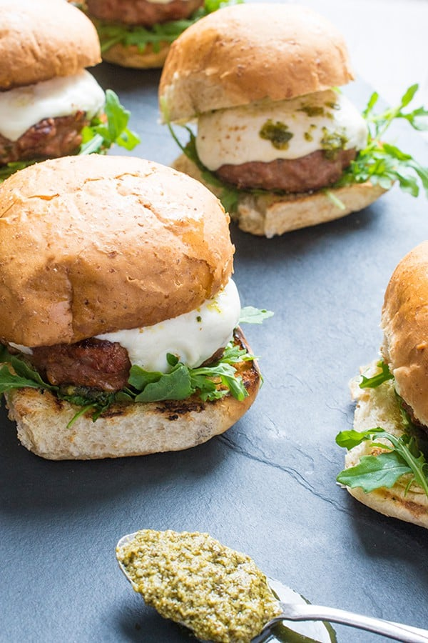 Grilled Italian Turkey Burgers with Pesto and Fresh Mozzarella