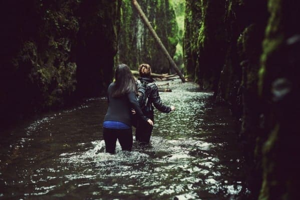 Katie and Liz Walking Through Oneonta Gorge