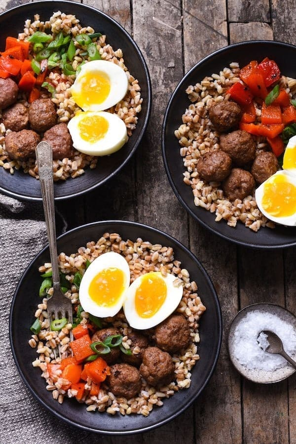 Make-Ahead-Breakfast-Grain-Bowls-with-Turkey-Sausage-Meatballs-2- Foxes Love Lemons