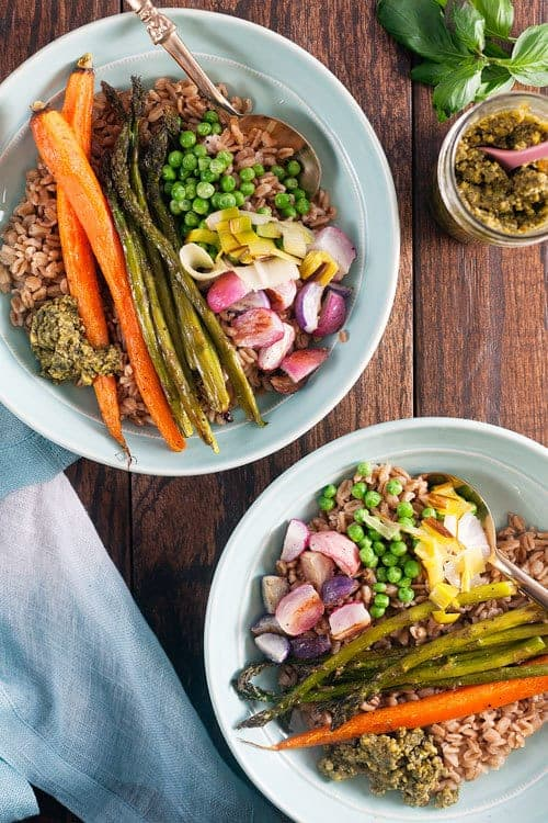 Spring-Vegetable-Grain-Bowls-with-Pesto - Healthy Delicious