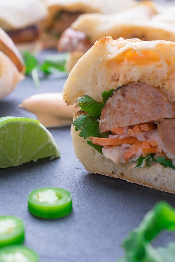 Chicken Sausage Bahn Mi - a twist on the Vietnamese sandwich recipe