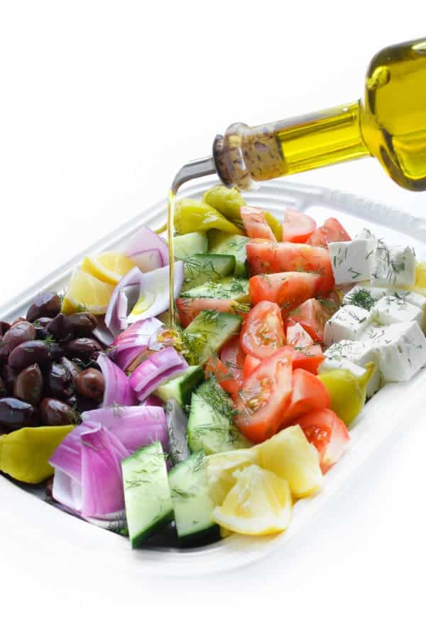Greek Village Salad with Kalamata Olives and Feta Cheese - a fast and easy side dish recipe