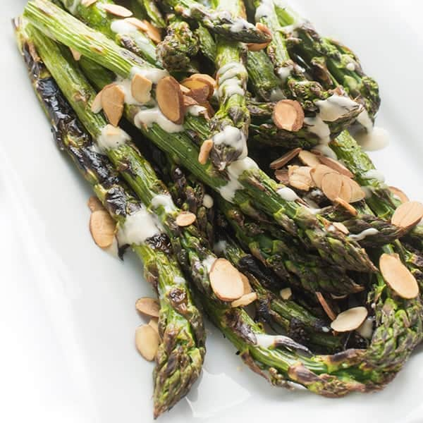 Grilled Asparagus with Creamy Lemon Tahini Dressing - a fast side dish recipe