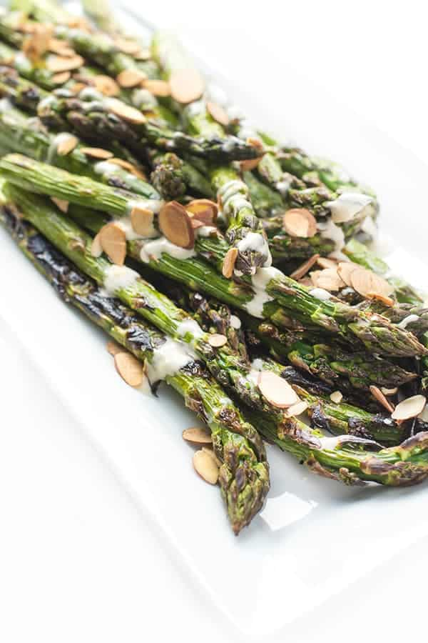 Grilled Asparagus with Lemon Tahini Sauce - a fast and easy side dish recipe