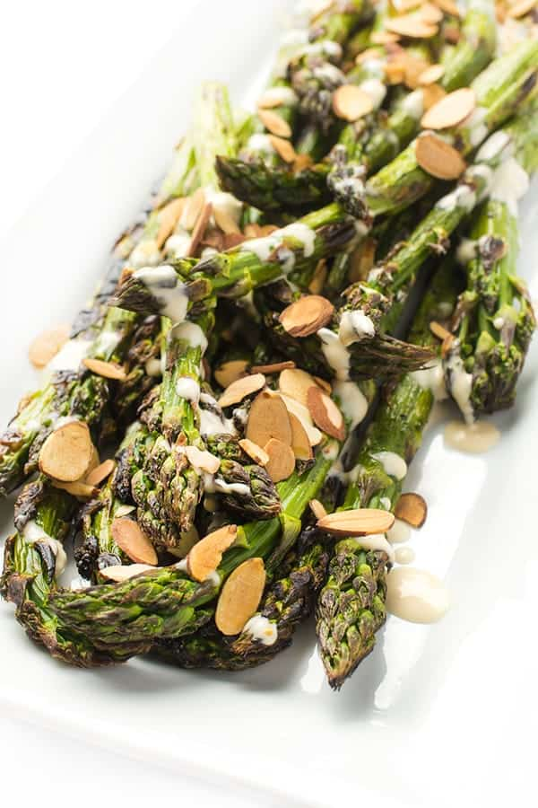Grilled Asparagus with Tahini Dressing - a fast and easy side dish recipe