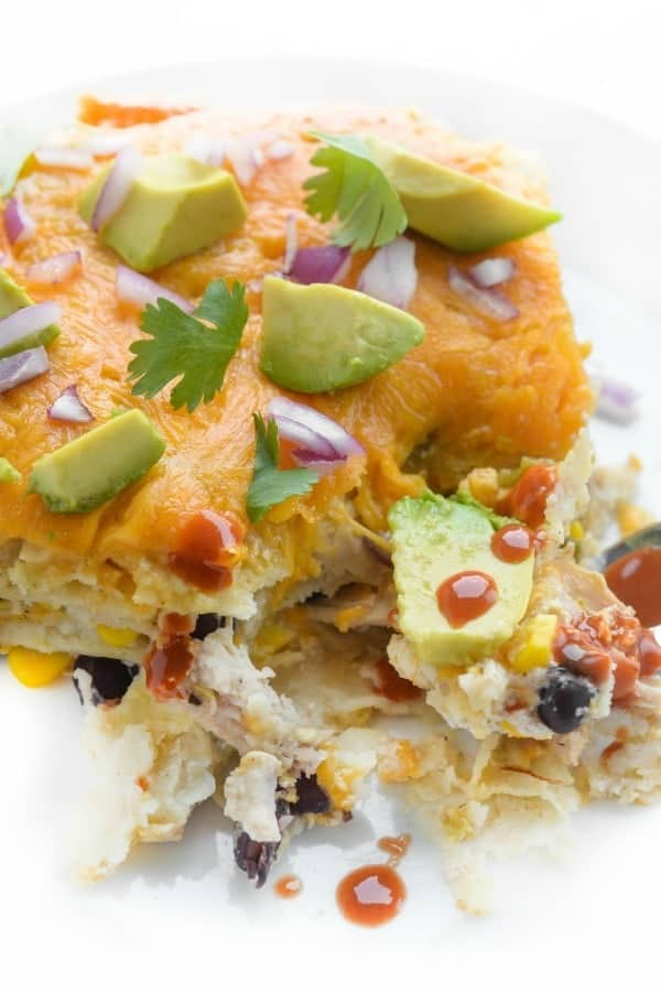Salsa Verde Mexican Lasagna - a fun dinner recipe with chicken and black beans