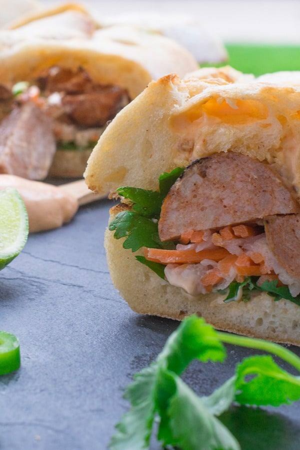 Vietnamese Bahn Mi with Chicken Sausage - a fun twist on the classic recipe