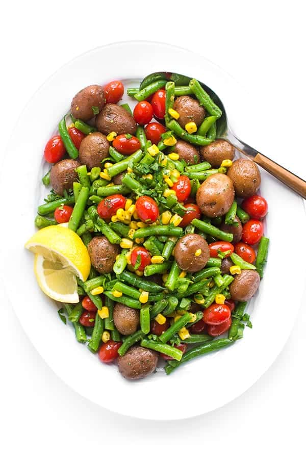 Warm Green Bean and Potato Salad with Tomatoes and Corn side dish recipe