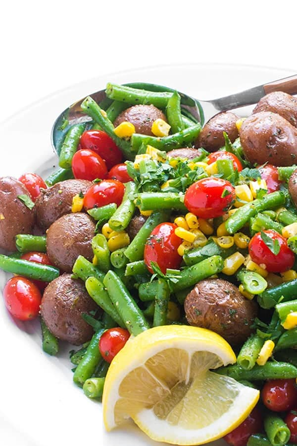 Warm Potato Salad with Green Beans, Tomatoes and Corn - a fresh side dish recipe