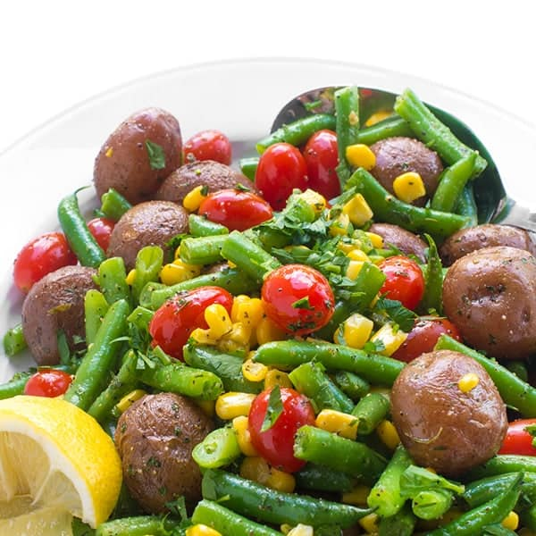Warm Potato and Green Bean Salad with Corn and Tomatoes side dish recipe