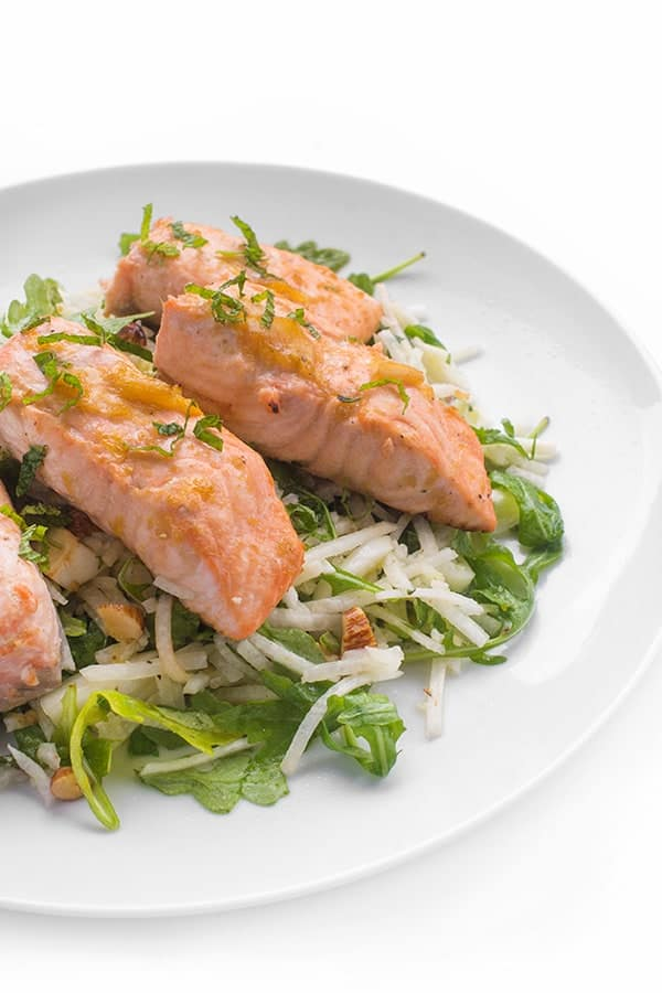 brown sugar glazed salmon with jicama salad the lemon bowl174