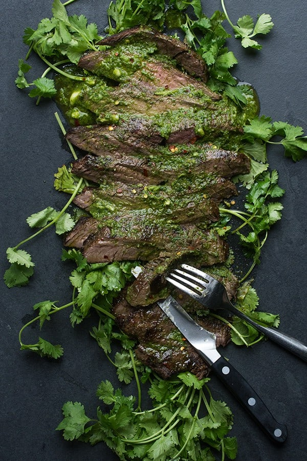 Grilled Flank Steak with Chimichurri Sauce - a healthy beef recipe