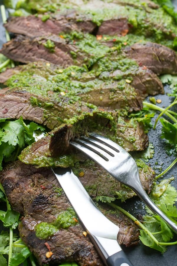 Grilled Flank Steak with Chimichurri - a flavor packed beef recipe
