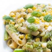Pesto Pasta with Green Beans and Corn - a fast vegetarian pasta recipe