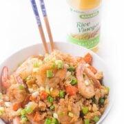 Cauliflower Shrimp Fried Rice -a healthy dinner recipe