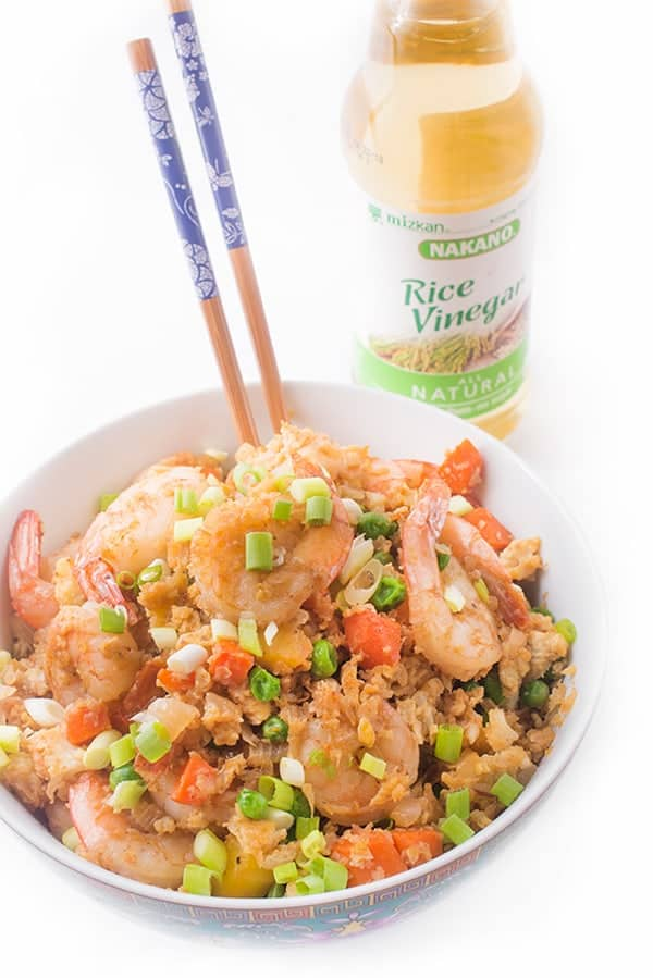 Cauliflower Shrimp Fried Rice -a healthy dinner recipe