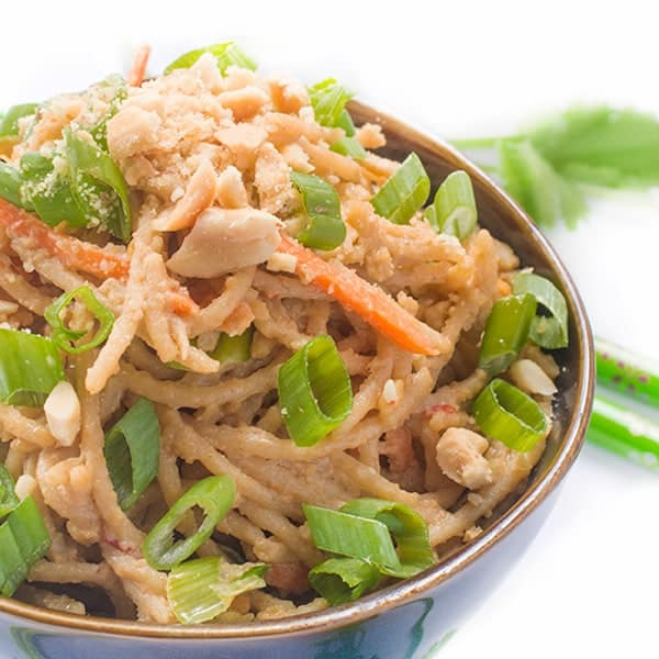 Thai Peanut Sauce Noodles - a fast and easy side dish recipe