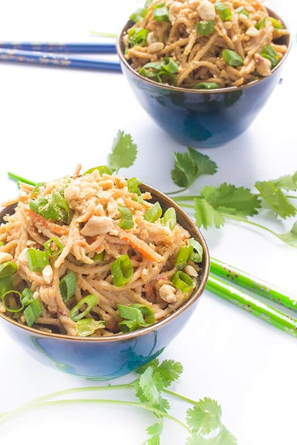 Thai Peanut Sauce Noodles - an easy gluten free side dish recipe