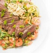 Thai Steak Salad on Zucchini Noodles with Asian Dressing