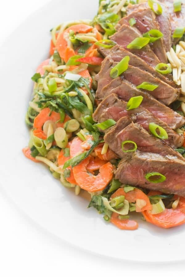Thai Steak Salad on Zucchini Noodles