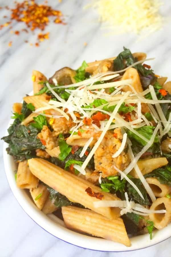 sausage-eggplant-and-kale-pasta-door-to-door-organics-giveaway