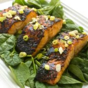 Honey Soy Glazed Salmon - an easy broiled seafood dinner recipe
